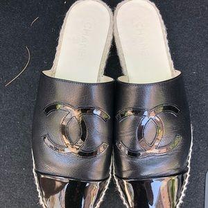 Chanel espadrille mules goatskin parent CC size 41